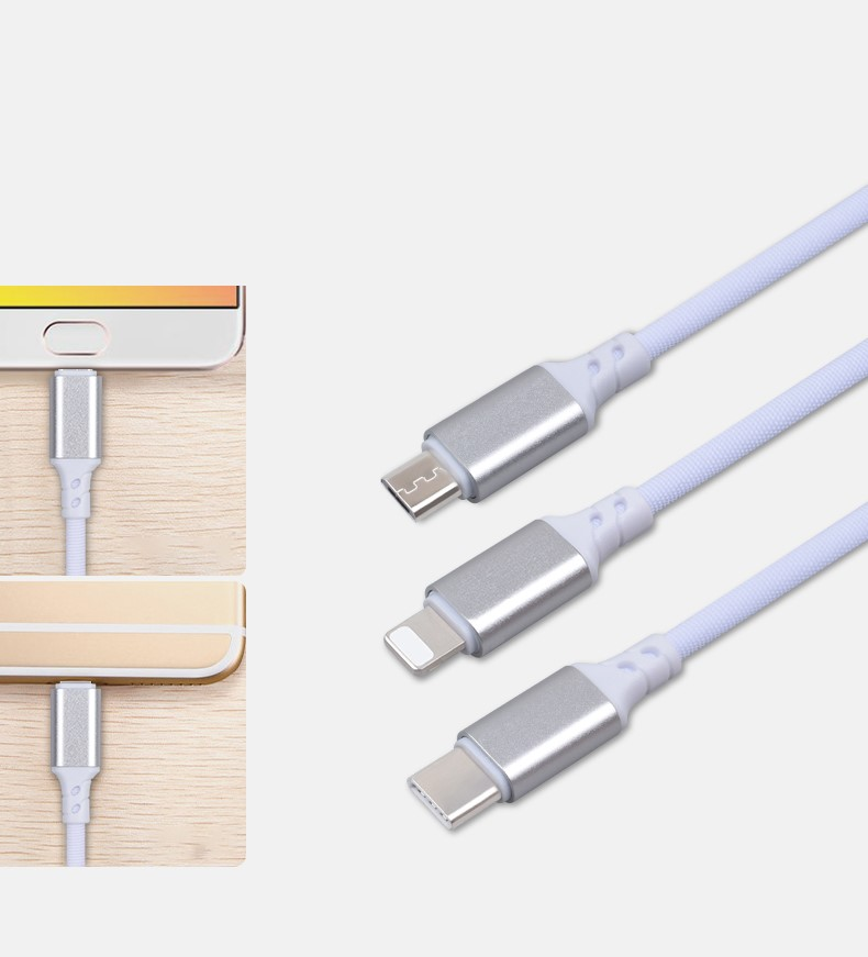 3 in 1 Metal core charging USB TPE colorful cable