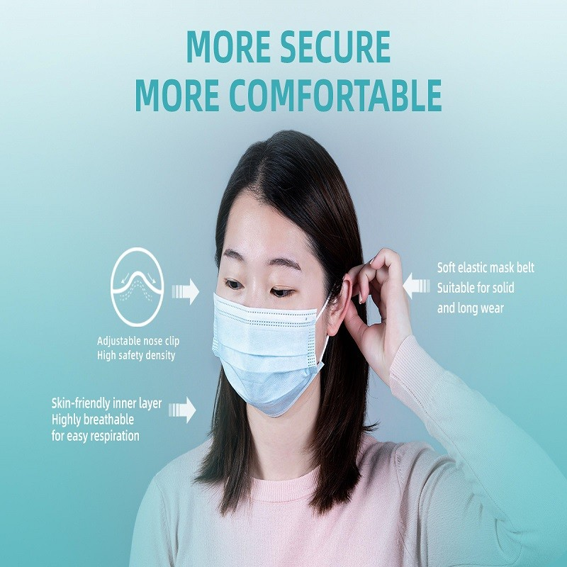 Soft Skin-friendly Disposable Earloop Face Mask with 3 layers of protection 50 pcs